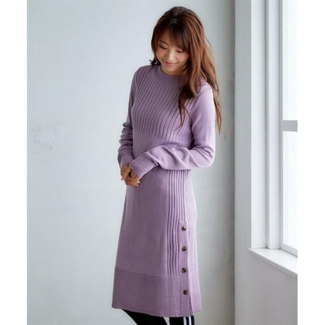 サイドボタン使いニットワンピース (ワンピース)Dress, 衣裙, 連衣裙