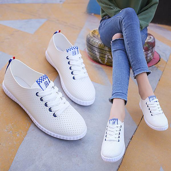 夏季學生洞洞鞋女正韓系帶鞋百搭透氣小白鞋平底休閒板鞋