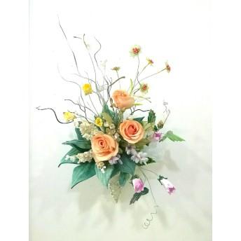 染め布花*すずらんと薔薇の花束&壁掛け~♪