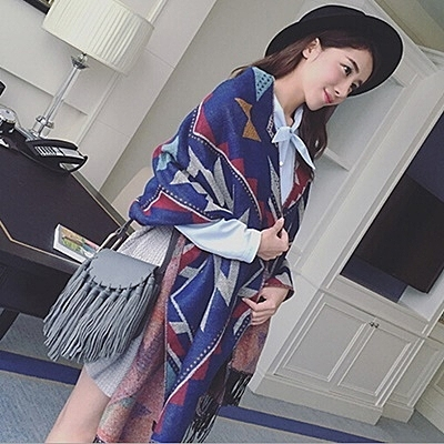羊毛絨長披肩-簡約大方幾何圖形女圍巾2色73hy32【時尚巴黎】
