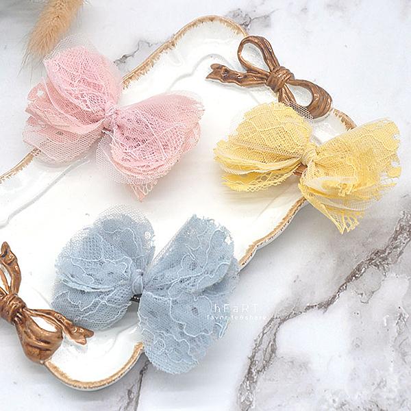 甜美蕾絲花邊蝴蝶結髮夾 髮夾 髮飾 頭飾 髮卡 瀏海夾