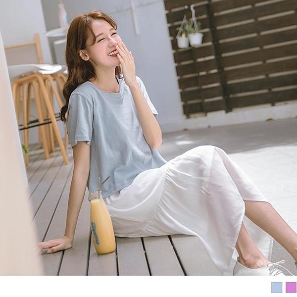 《DA6862-》兩件式高棉純色圓領短袖上衣x背心荷葉裙襬洋裝 OB嚴選