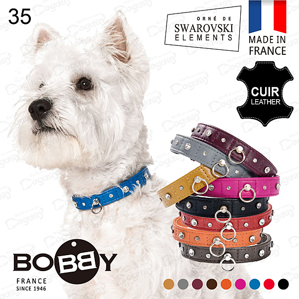 狗日子法國《BOBBY》繁星點點項圈[35] 法國手工小羊皮項圈 施華洛世奇水晶 Swarovski 真皮項圈