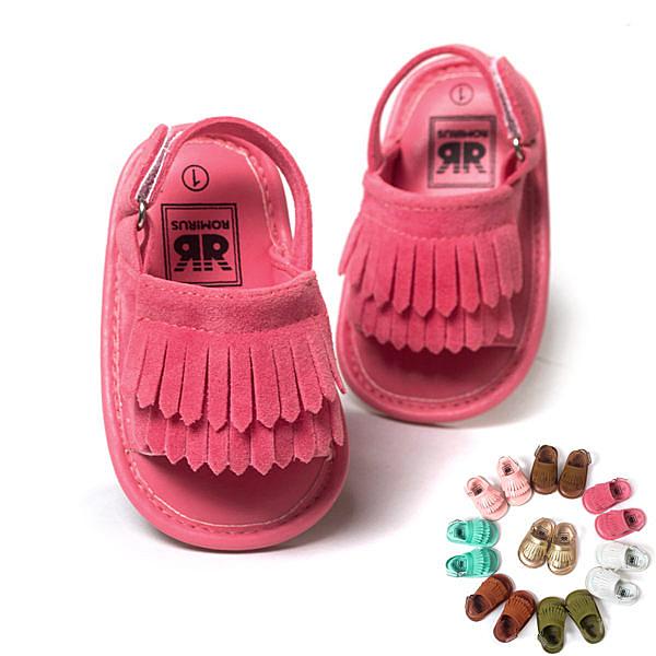 童鞋 軟膠片流蘇涼鞋 學步鞋 兒童鞋 防滑 嬰兒鞋 室內鞋 0~24M 橘魔法 現貨 寶寶鞋