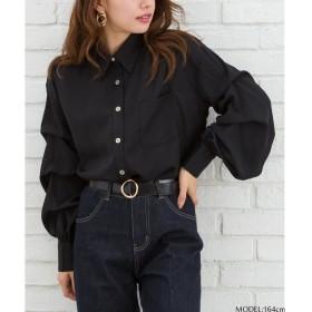 Libby & Rose ランタンスリーブシャツ ブラック M レディース 5,000円(税抜)以上購入で送料無料 シャツ 夏 レディースファッション アパレル 通販 大きいサイズ コーデ 安い おしゃれ お洒落 20代 30代 40代 50代 女性 トップス
