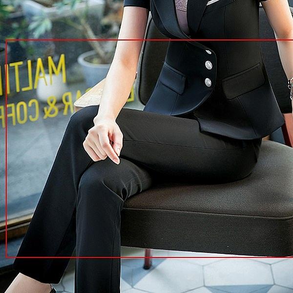 美之札[8S117-PF]中尺碼*OL純黑西裝長褲~OL通勤上班