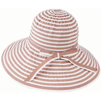 ZGQA 女性の夏の新鮮なワイドストライプリボン帽子日焼け止め折り畳み式ビーチキャップ hat (Color : Khaki)