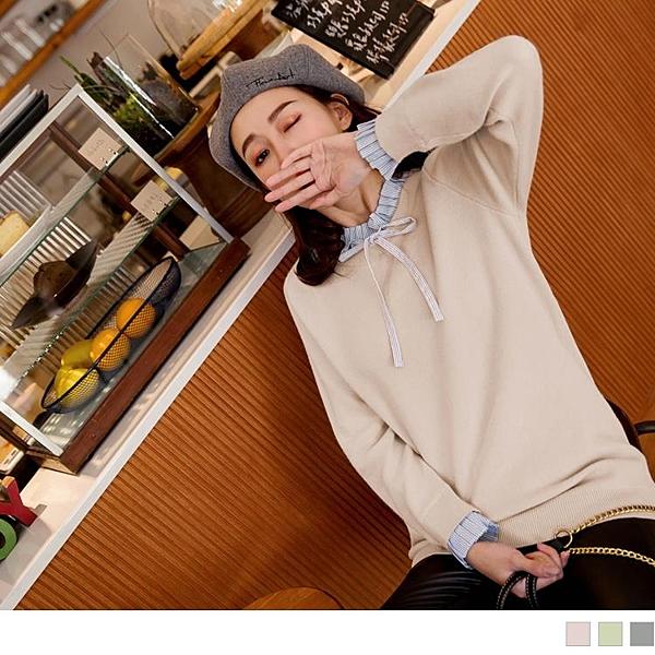 《FA2082-》假兩件壓摺蝴蝶結領圍包芯紗針織毛衣 OB嚴選