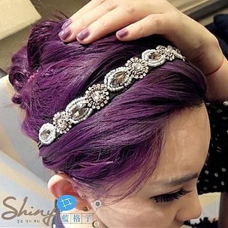 【DJB5108】shiny藍格子-時尚復古風BLINGBLING髮帶∕手環