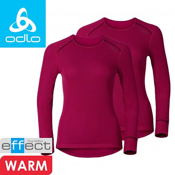 【ODLO 瑞士 女款 銀離子保暖衣兩件裝《櫻桃紅》】193011/圓領衛生衣/透氣快乾/保暖排汗