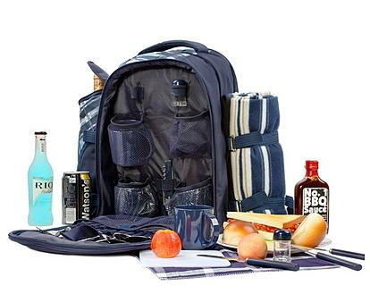野餐包 含2人餐具組-藍色調旅行袋地墊便當保溫多袋雙肩後背包68ag11[時尚巴黎]