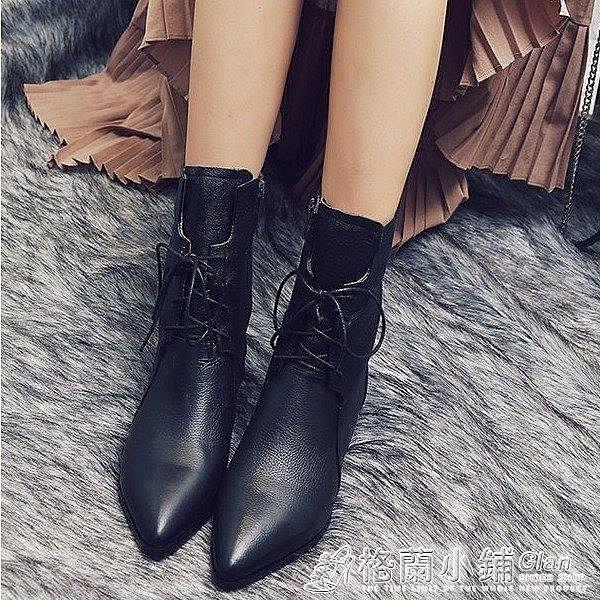 黑色靴子短靴女軟皮繫帶馬丁靴高跟鞋女粗跟
