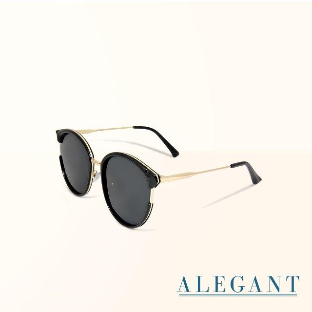 【ALEGANT】貓眼設計金屬鏤空寶麗來偏光墨鏡/UV400太陽眼鏡