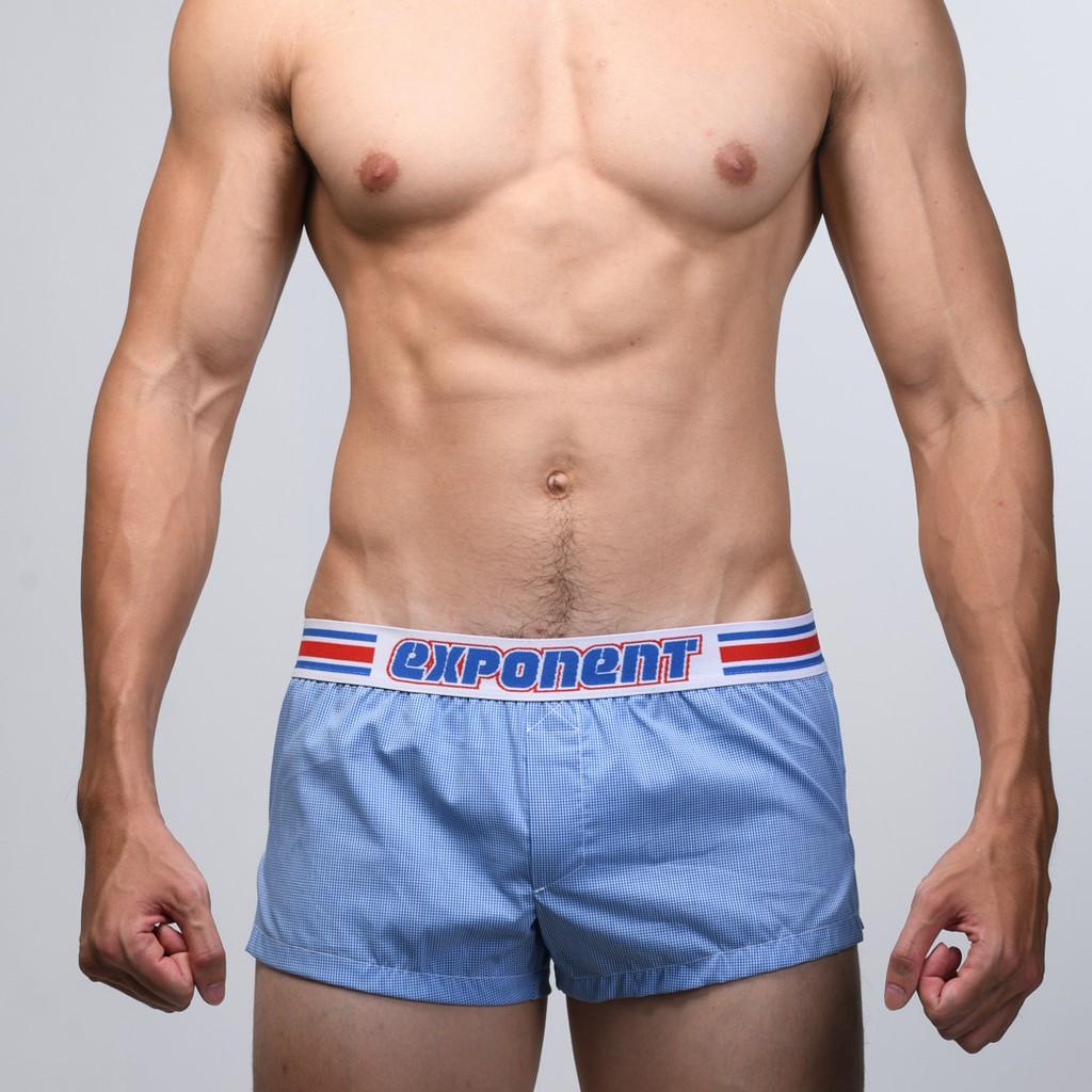 eXPONENT 小格紋 純棉 男 平織平口褲 (3D內襯) 藍色