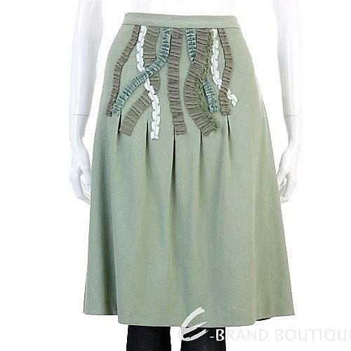 MOSCHINO 綠色抓皺設計及膝裙 0510113-08