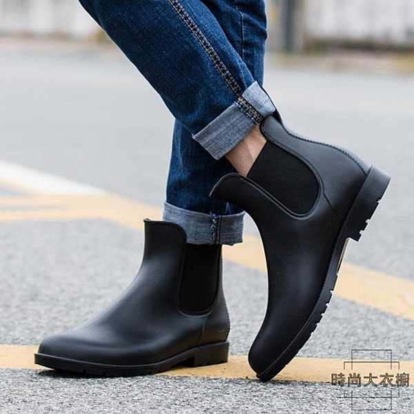 時尚防滑雨鞋男成人防水鞋套鞋馬丁雨靴大碼短筒【時尚大衣櫥】