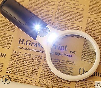 高清手持式放大鏡20倍老人閱讀10倍100MM帶LED燈高倍