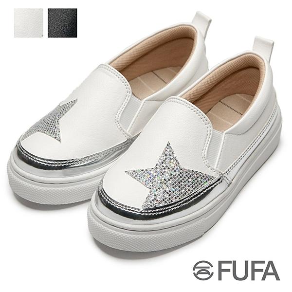 【富發牌】閃耀星光亮片兒童懶人鞋-黑/白 3BE08