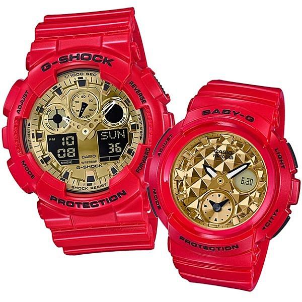 CASIO卡西歐 G-SHOCK x BABY-G 新年超人氣紅金配色新春限定對錶 GA-100VLA-4A/BGA-195VLA-4A