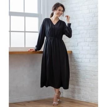 【クミキョク/組曲】 【PRIER】ボリュームスリーブVネックギャザーロング ドレス