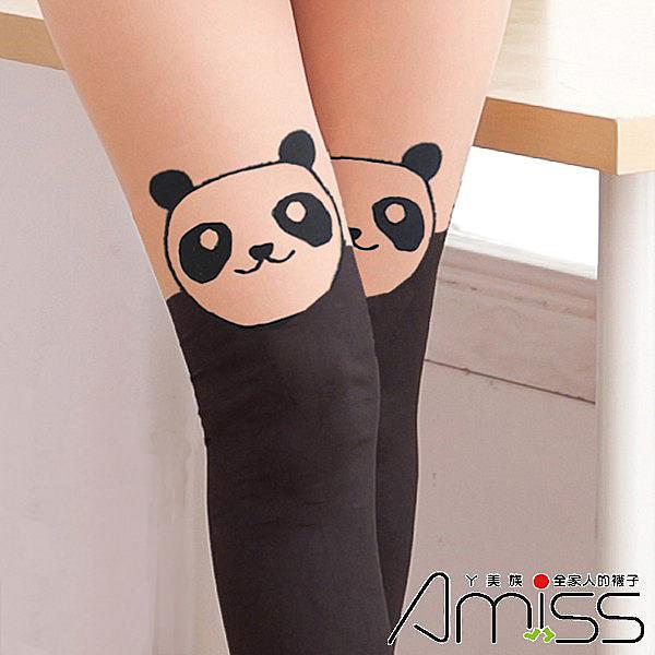 Amiss【Z408-100】日系精緻造型★假大腿褲襪-圓貓熊