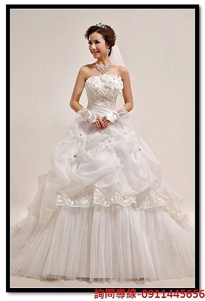 (45 Design) 訂做款式7天到貨150公分蕾絲手工花朵長拖尾婚紗禮服 新款韓版甜美抹胸綁帶婚紗