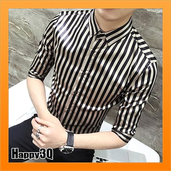 直條紋襯衫設計師修身個性條紋設計感襯衫-白/金M-3XL【AAA4725】預購