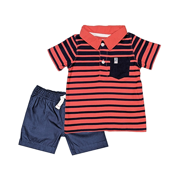 男寶寶套裝二件組 POLO杉上衣+短褲 紅條紋 | Carter s卡特童裝 (嬰幼兒/兒童/小朋友/小孩/新生兒)
