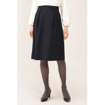 NATURAL BEAUTY フラノストレッチタックフレアースカート ひざ丈スカート,ネイビー
