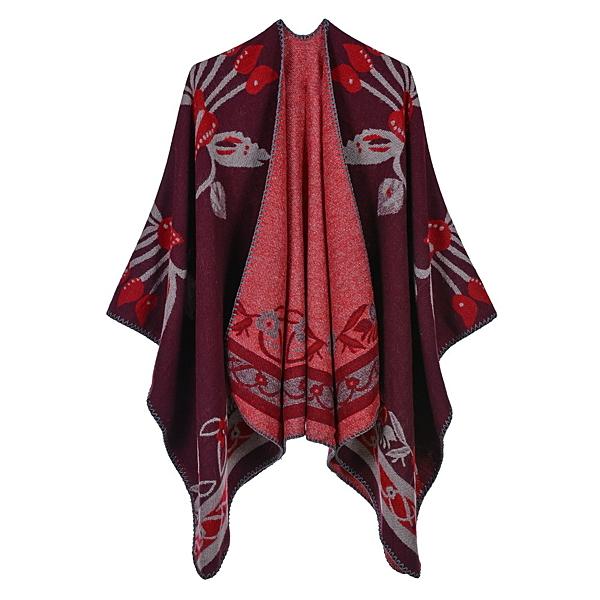 仿羊絨披肩-花朵包邊雙面禦寒女圍巾5色73we29【巴黎精品】