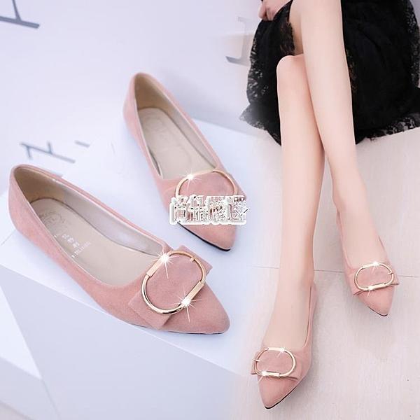 單鞋尖頭平底鞋女淺口平跟鞋女鞋軟底工作鞋女豆豆鞋