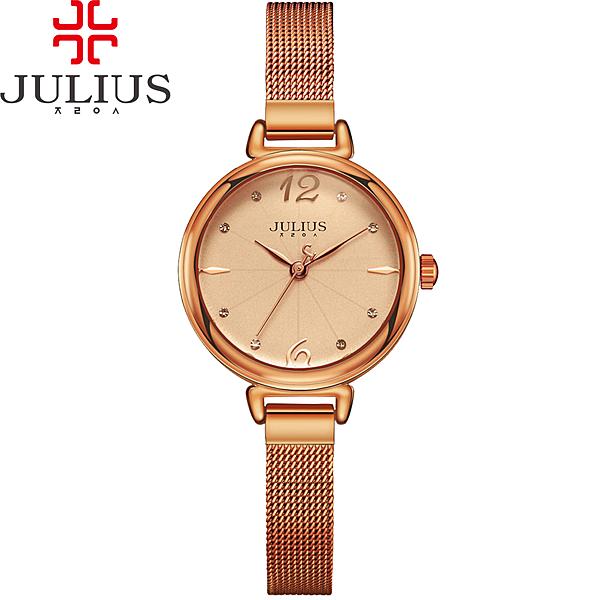 JULIUS 聚利時 為我著迷點鑽米蘭錶帶腕錶-古銅金/28mm 【JA-934D】