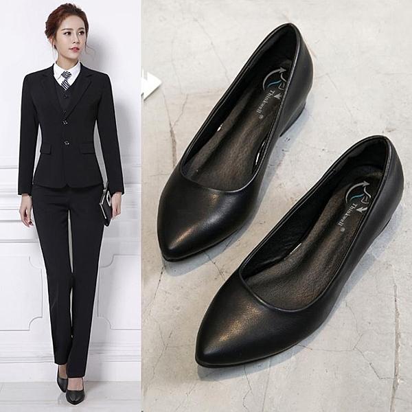 平底鞋工作鞋女黑色平底尖頭防滑職業舒適中跟平跟上班皮鞋小碼大碼單鞋晴天時尚