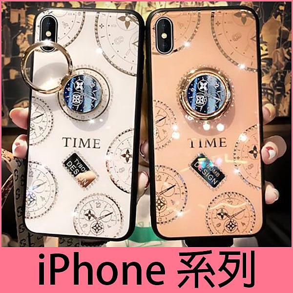 【萌萌噠】iPhone11 Pro XR Xs Max 6 7 8 SE 新款時光水鑽殼 創意錶盤支架 全包軟邊 鋼化玻璃背板