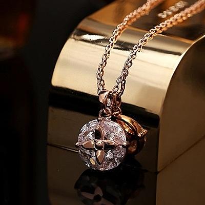 項鍊 玫瑰金 水晶純銀吊墜-簡約時尚生日情人節禮物女飾品73dw103【時尚巴黎】