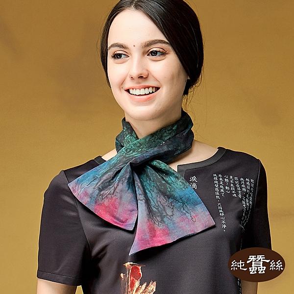 【岱妮蠶絲】牛樟芝系列藝術風蠶絲造型短巾(綠)