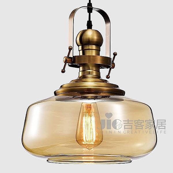 [吉客家居] 吊燈 工藝圓形琥珀吊燈 金屬電鍍造型時尚後現代工業餐廳民宿咖啡館居家D