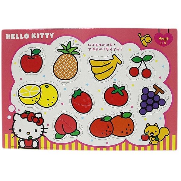 8開 Hello Kitty凱蒂貓 美味的水果嵌入版拼圖 世一C678032/一個入{促120} IQ益智嵌入版幼兒拼圖 MIT製