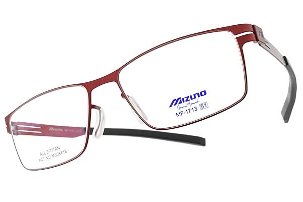 MIZUNO 美津濃 光學眼鏡 MF1713 C27B (紅) 科技感方框款 β鈦眼鏡 # 金橘眼鏡