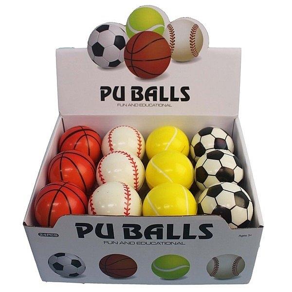2.5吋PU球 安全小籃球 足球 棒球 網球/一個入(促30) 直徑6cm 安全玩具球-CF139848