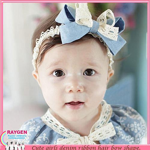 嬰兒 牛仔 蕾絲 蝴蝶結 髮帶 髮飾 頭花 帽子
