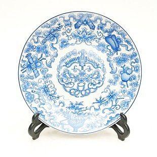 青花盤 掛盤 連藤 工藝裝飾擺件
