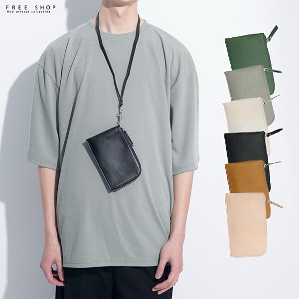 日系韓系街頭潮流、消光PU皮質感、雅痞、咖啡色黑色白色、拉鍊頸掛包脖掛包隨身配件零錢袋手提包