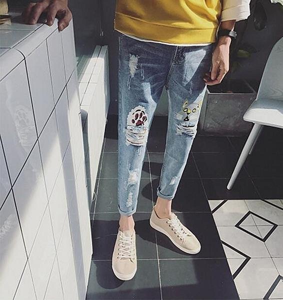找到自己品牌 男 時尚 潮 街頭 卡通 貓 爪 塗漆印花 破洞 休閒牛仔褲 九分褲 直筒褲