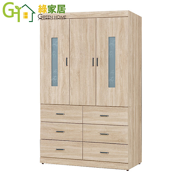 【綠家居】美杜莎 時尚3.9尺木紋三門六抽衣櫃/收納櫃(內附穿衣鏡設置)