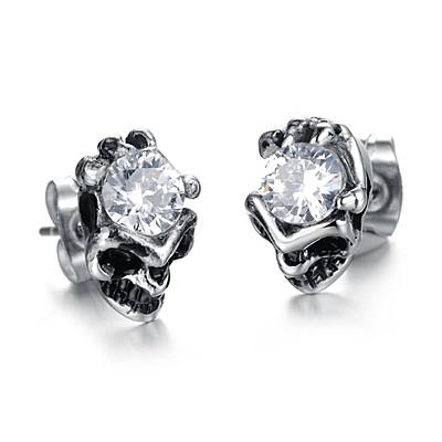 鈦鋼耳環鑲鑽-個性骷髏頭生日情人節禮物男女飾品2色73cn8【時尚巴黎】