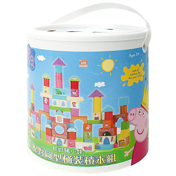 《 Peppa Pig 》粉紅豬小妹配對圓型桶裝積木╭★ JOYBUS玩具百貨