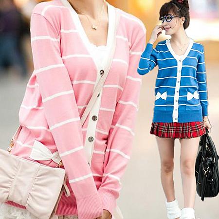※現貨 條紋口袋蝴蝶結針織衫-5色【V54006】