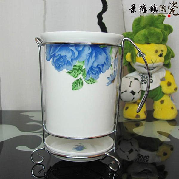 藍牡丹筷筒  陶瓷 廚房用品用具 2個/組