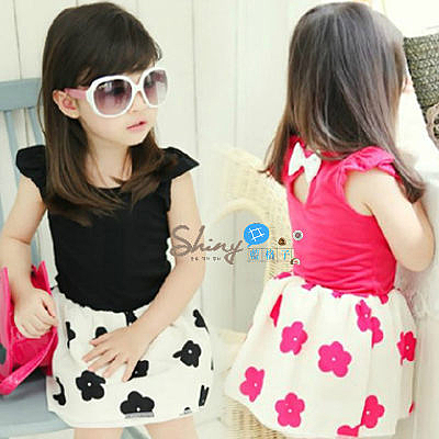 【R1856】shiny藍格子-嬰幼館. 夏裝女童花朵拼接連身裙